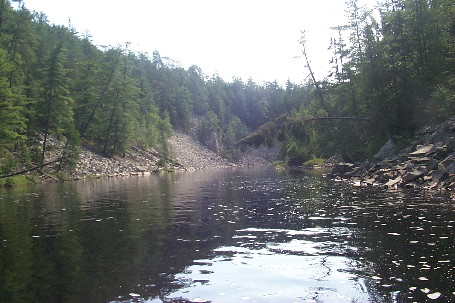 Scree canyon below twin sisters falls lady evelyn river temagami