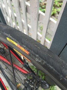 Casing showing through Mavic Yksion tire after 5,000km of use